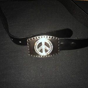 Accessories - Rhinestone peace sign black belt